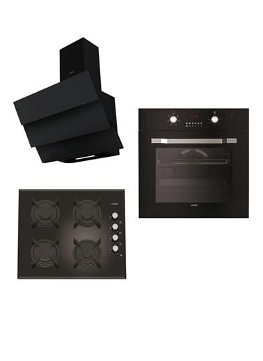 VİNOLA Vinola Set 045 (MOG.6310.111.01 + MOFA.501.111.01  + MCWB128.111.600) Siyah Ankastre Set Renkli